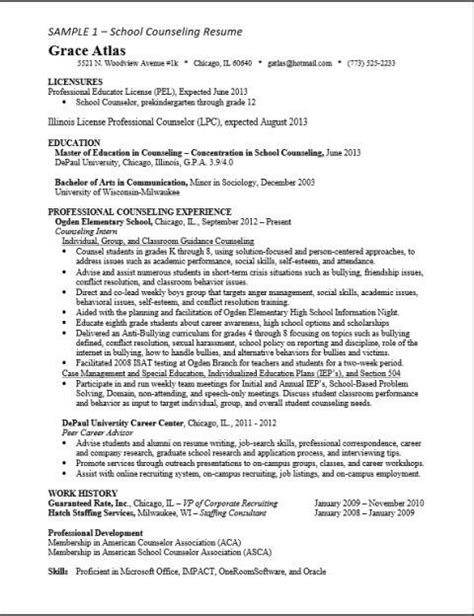 resume exles for licensed professional counselor