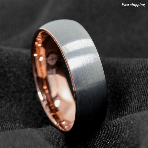mm tungsten ring silver brushed rose gold inlay wedding