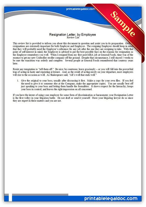 printable resignation letterby employee legal forms