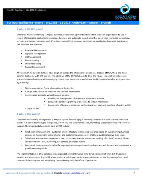 sap bi resumes for 3 years business intelligence resume sap bi bobj ato 1988 11 2015 amste