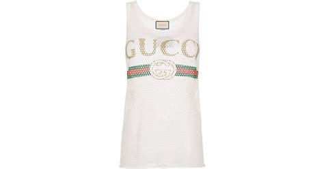 Gucci Fake Logo Vest Top In White