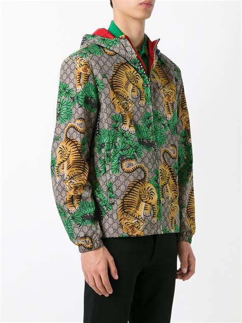gucci synthetic bengal tiger print jacket forest green