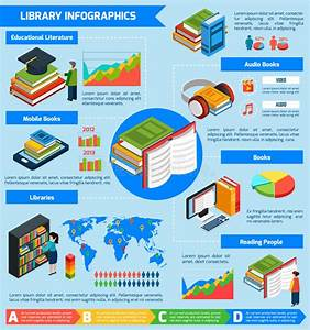Library Isometric Infographics Stock Vector