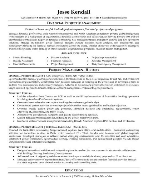 experienced project manager resume the letter sle