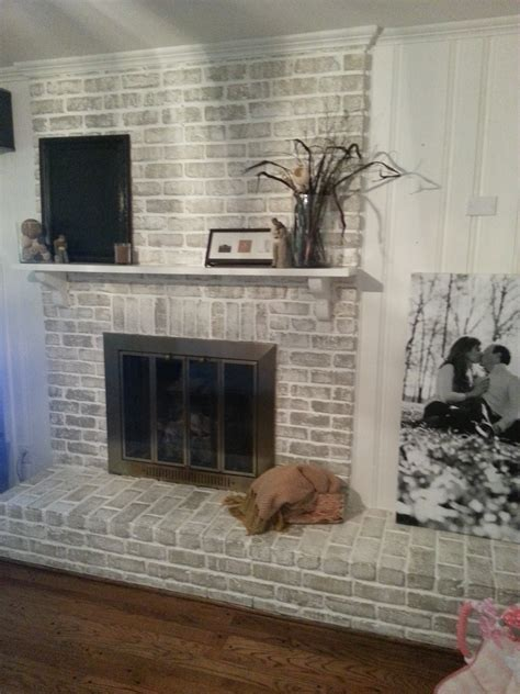 The Crux Grey Paint Wash On A Brick Fireplace Before