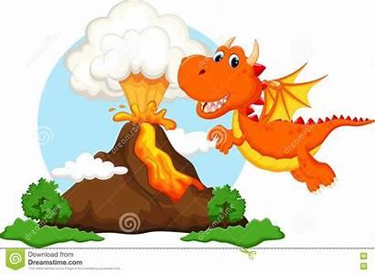Volcano Cartoon Dragon Background Vector Illustration Clipart