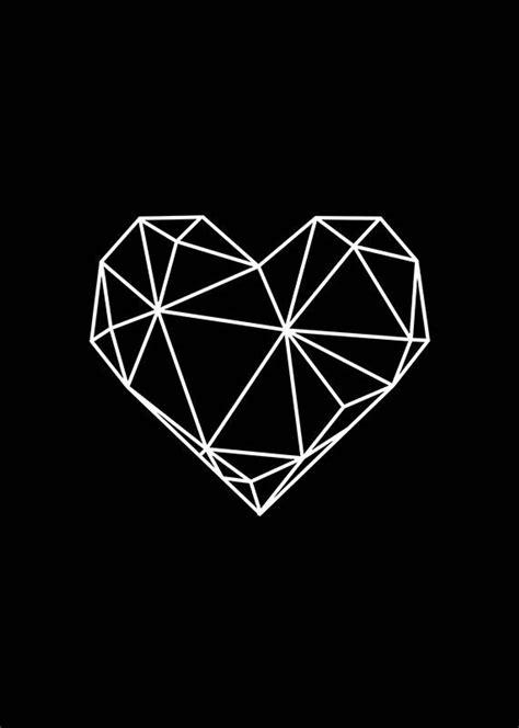 geometric heart heart print black  white geometric