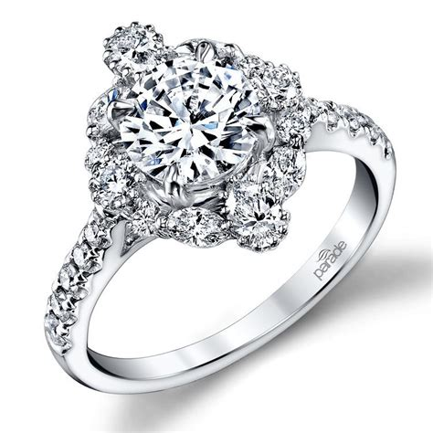 wedding ring design white gold fancy halo diamond engagement ring in white gold by parade