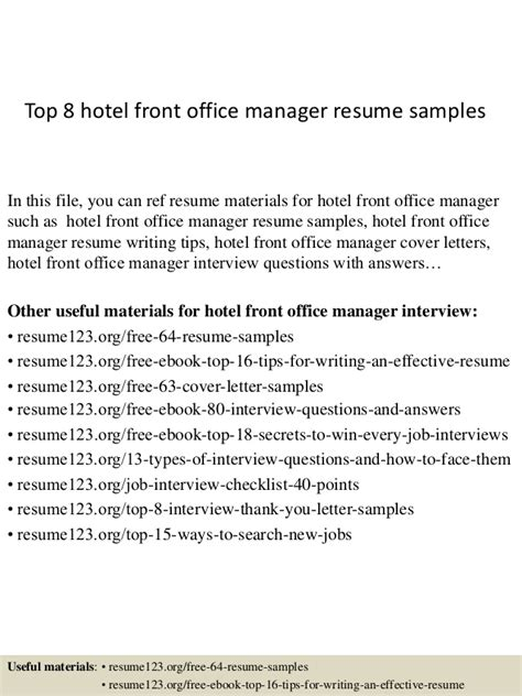 Front Office Manager Resume by Top 8 Hotel Front Office Manager Resume Sles