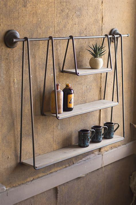 wood metal triple hanging shelf