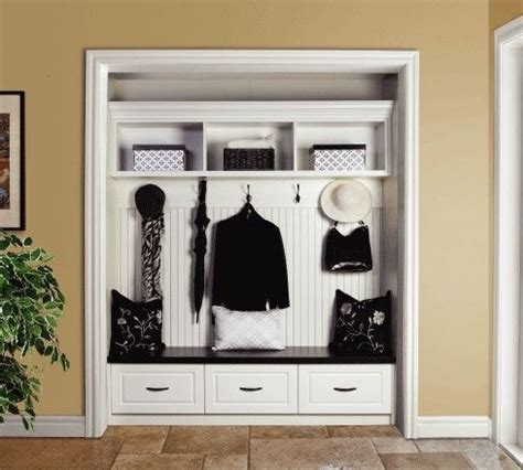 convert closet into mini mudroom small space ideas