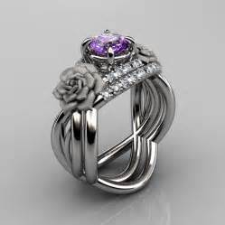 amethyst wedding ring nature inspired 14k white gold 1 0 ct amethyst vine engagement ring wedding band