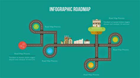 flat design roadmap  powerpoint template