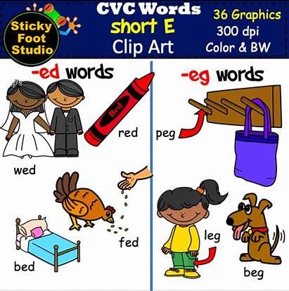Word Cvc Clip Short Kindergarten Vowel Words