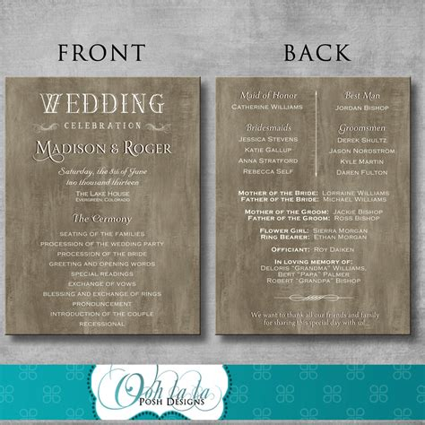 rustic elegant wedding program diy  oohlalaposhdesigns