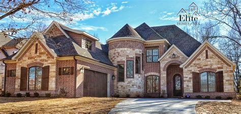 french country exterior  turret beautiful brick  stone combination fabulous facades