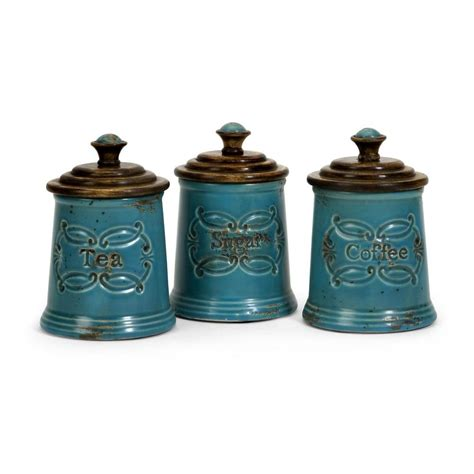 style kitchen canisters filament design lenor 7 5 in blue ceramic canister set
