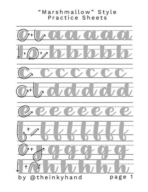 marshmallow style brush calligraphy practice sheet set