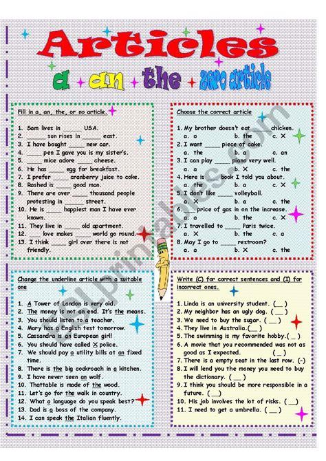 English definite and indefinite articles - ESL worksheet ...