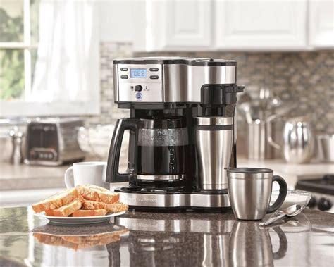 1.2 hamilton beach (47950) coffee maker with 12 cup capacity & internal storage coffee pot, brewstation, black/stainless steel. Hamilton Beach 49980A Coffee Maker, Single Serve, Black/Stainless