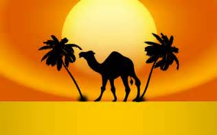 clipart camel sunset