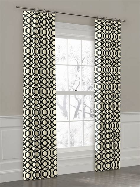 custom black and white geometric ring top drapery panel
