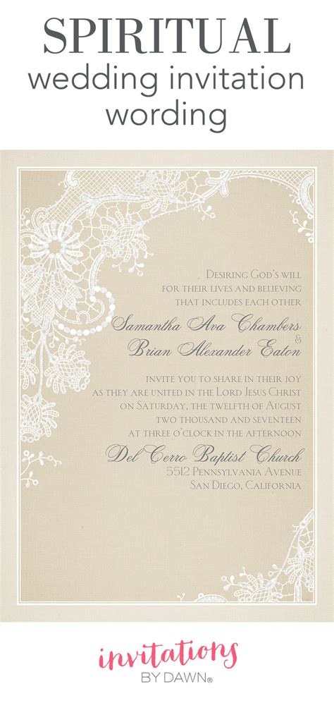 spiritual wedding invitation wording invitations  dawn