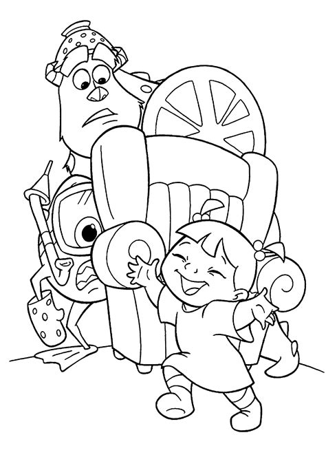 Monster Inc cartoon coloring pages for kids printable
