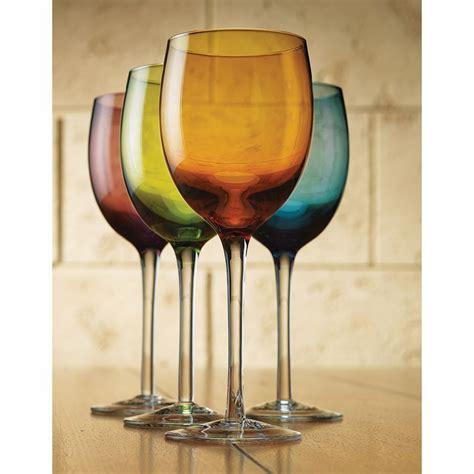 colorful wine glasses colorful wine glasses 12 ounce set of 4 ebay