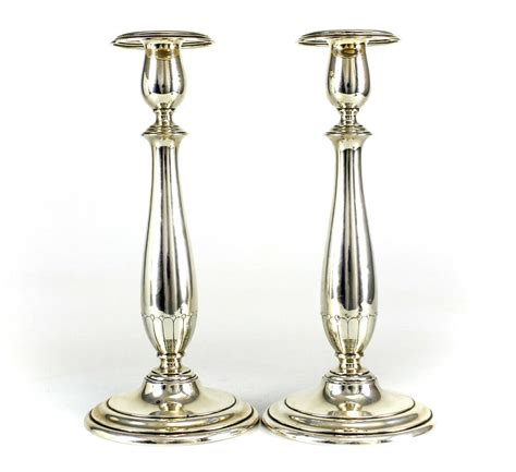 Candle Sticks by Pair Of Towle Sterling Silver Weighted Candlesticks C1920