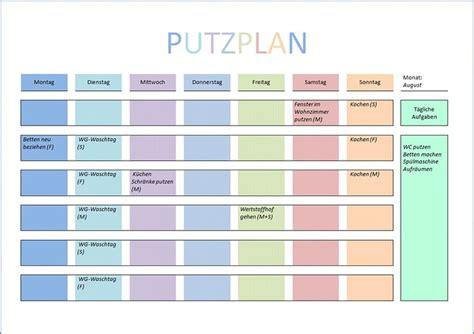 putzplan vorlage  und word geniale ideen putzplan