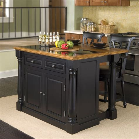 kitchen islands shop home styles black midcentury kitchen island with 2