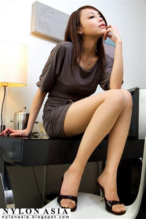 Mini Skirt Dress Sheer Tan Pantyhose Sexy Asian Girl