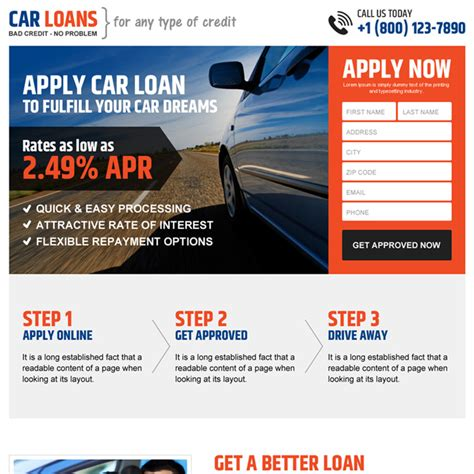 Professional And Clean Car Loan Online Application Lead