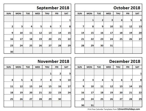 month calendar september  december  blank