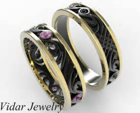 unique wedding ring sets for him and two tone gold his and hers pink sapphire wedding band set vidar jewelry unique custom