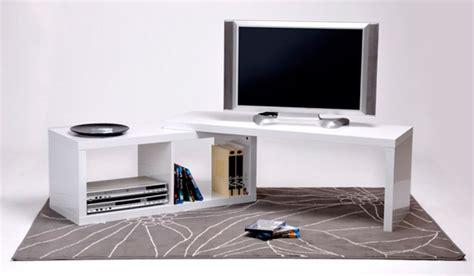 meuble tv extensible sand blanc brillant