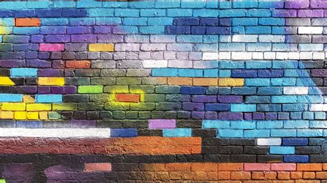 Download Wallpaper 3840x2160 Wall Brick Colorful Paint