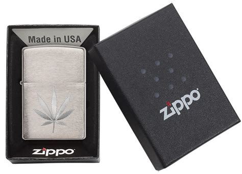 Engraved Marijuana Leaf Chrome Windproof Lighter | Zippo.com