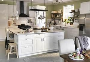 Cuisine Blanche Et Bois Ikea : ilot central blanc cuisine en image ~ Dailycaller-alerts.com Idées de Décoration