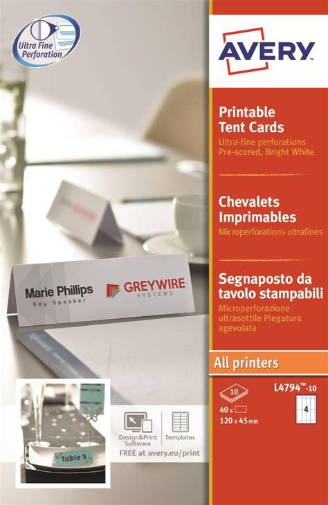 tent card template 4 per sheet avery printable business tent card 4 per sheet 120x45mm