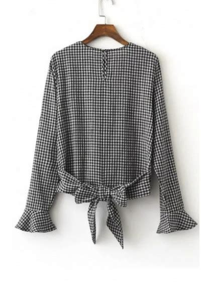 New Plaid Bow Back Ruffle Cuffs Round Neck Long Sleeve ...