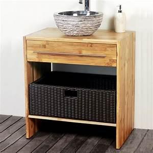Meuble Bambou Salle De Bain : meuble de salle de bain en bambou 68 cm liam jo achat vente meuble vasque plan meuble de ~ Teatrodelosmanantiales.com Idées de Décoration