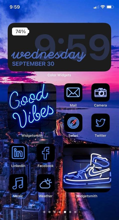 blue ios 14 app icon pack neon aesthetic ios 14 icons
