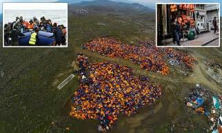 pictures show ten acres  dumped life jackets  greece