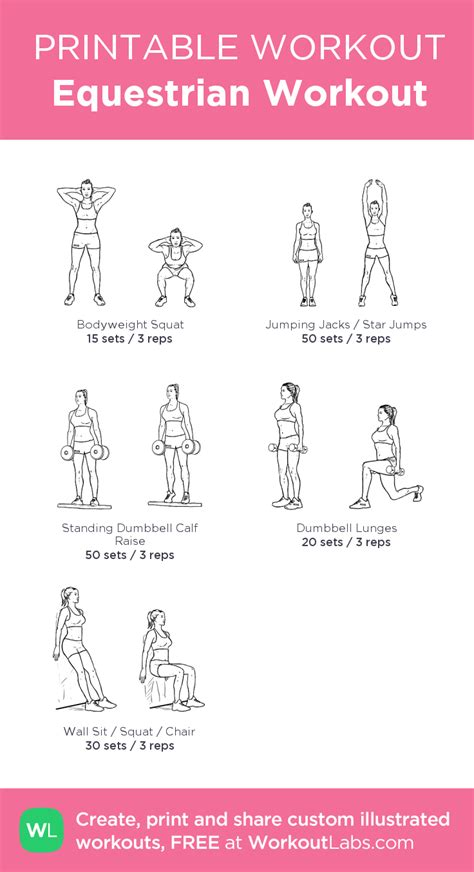 workout equestrian exercises workouts printable fitness gym horse riding exercise horseback training stretches routine pre leg teens beginner workoutlabs program
