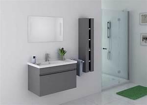 Meuble De Salle De Bain Solde : beau meuble de salle de bain gris taupe suspendu meuble ~ Teatrodelosmanantiales.com Idées de Décoration