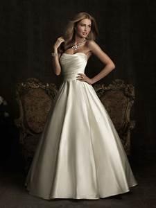 Satin strapless sleeveless wedding dress ideal weddings for Strapless satin wedding dress