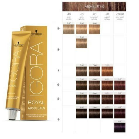 schwarzkopf hair color chart schwarzkopf igora royal absolutes hair color 60ml igora