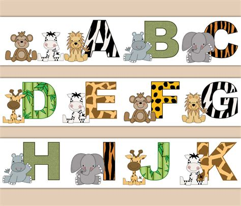 Animal Print Wallpaper Borders Uk - jungle safari decal animal print alphabet wallpaper border